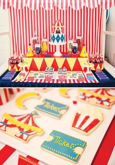 circus theme party | ... with juggling balls + clown noses and yellow party hats with red poms