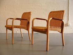 2 original alvar aalto birch and cane chairs no. 46 by artek mid-century modern