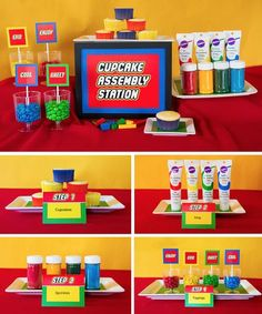 Pin for Later: This Lego-Themed Teacher Appreciation Party Will Inspire Every Party You Ever Throw Lego Themed Party, Lego Birthday Party, Third Birthday, 2nd Birthday Parties, Boy Birthday, Party Themes, Lego Party Foods, Lego Party Decorations, Lego Parties