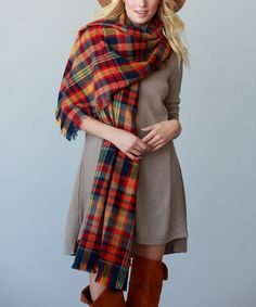 This Rust Thick-Plaid Oversize Scarf is perfect! #zulilyfinds