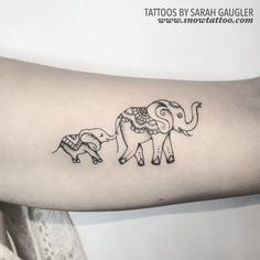 Custom Elephants Mama & Baby - Designed and Tattooed by Sarah Gaugler at…