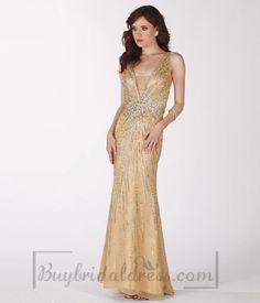 Beading V-neck Silk Mermaid Deep Prom Dress