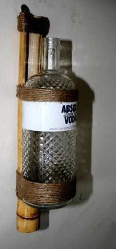 An Absolute Vodka Bottle Bamboo Vass