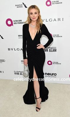 Bar Paly 24th Annual Oscar Viewing Party Long-sleeve Black Dress Formal Dress.prom dresses,formal dresses,ball gown,homecoming dresses,party dress,evening dresses,sequin dresses,cocktail dresses,graduation dresses,formal gowns,prom gown,evening gown