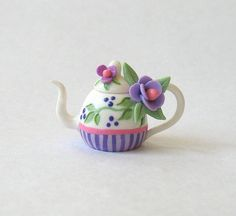 Miniature Lovely Purple Blossoms Stripes Teapot OOAK by C. Rohal