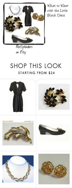 """What to Wear with the Little Black Dress"" by pastsplendors ❤ liked on Polyvore featuring Trifari, vintage, women's clothing, women's fashion, women, female, woman, misses and juniors"
