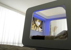 Television Room Space with Modern Decorations and Blue LED Lighting for Home Inspiration