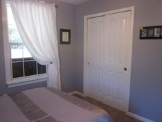 Grey walls, white trim for our Bedroom