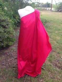 Vtg Red Halston One Shoulder Dress 70s Grecian Greek Formfit Rogers Gown lingerie vintage 1970's goddess