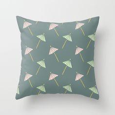 Cocktail Umbrella Pattern Throw Pillow by Mrs. Ciccoricco #Society6 #pillow #throwpillow #decor #homedecor #print