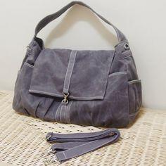 MAY Sale - Gray Waxed Canvas Women Shoulder Bag, Messenger bag, Tote, Hobo, Diapers Bag, School Bag, Handbag - KINIES CLASSIC