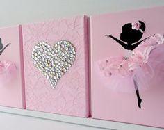 Bailarinas y el corazón de arte de pared de vivero en rosa y blanco. Decoración de habitaciones para chicas.