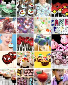 This contains a collage of cake pops, cupcakes, et cetera, from Angie Dudley's weblog, Bakerella.com. She wanted to share the spotlight w/ other talented folks.
