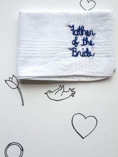 Father of the Bride Wedding Keepsake Handkerchief by wrenbirdarts