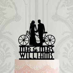 Personalised Art Deco Wedding Cake Topper, Bride and groom with bike, Tandem bike silhouette , Gatsby cake topper, custom cake topper Personalized Wedding Cake Toppers, Custom Cake Toppers, Custom Cakes, Bike Silhouette, Wedding Cakes, Wedding Cake Decorations, Our Wedding, Art Deco Wedding, Tandem