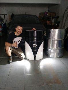 Automotive Furniture, Automotive Decor, Barrel Furniture, Diy Furniture, Garage Sink, Deco Cool, Oil Barrel, Barrel Projects, Drums Art