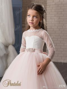 ebca89836 Blush Flower Girls Dresses With 3/4 Long Sleeves And Beaded Belt 2017  Pentelei Princess Lace Tulle First Communion Gowns For Little Girls Black  And Red ...