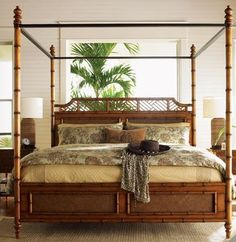 Lowest price online on all Tommy Bahama Home Island Estate West Indies Wood Poster Canopy Bed 5 Piece Bedroom Set - West Indies Decor, West Indies Style, Tommy Bahama, Bedroom Sets, Home Decor Bedroom, Bedroom Furniture, Bamboo Furniture, Master Bedroom, Furniture Design