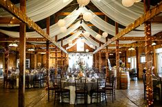 The lights and draping make this venue very romantic!   Photo by Stephen Bobb Photography
