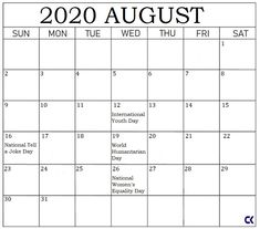 Printable August 2020 Calendar with Holidays August Holidays, Holidays And Events, August Calendar, Holiday Calendar, World Humanitarian Day, International Youth Day, World Elephant Day, Indigenous Peoples Day