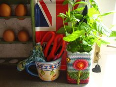 Green mint in a crocheted vase in the kitchen