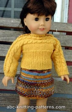 American Girl Doll Cuff-to-Cuff Cable Sweater free pattern