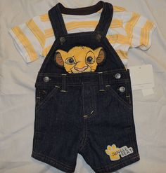 NEW Disney Lion King Simba Outfit, Shorts, Overalls, Size 0-3 Months, Denim #Disney http://www.lshf.org/