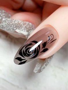 Nail Art Designs Videos, Creative Nail Designs, Nail Art Videos, Nail Design Video, Rose Nail Art, Rose Nails, Flower Nail Art, Elegant Nails, Stylish Nails