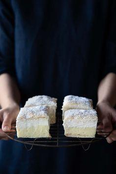 Vegan Kremšnita (Vanilla & Custard Cream Cake) by The Minimalist Vegan. A decadent and creamy dessert that is easy to make and delicious to eat. Vegan vanilla slice with a twist! #veganvanillaslice #kremsnita #vegankremsnita #vegandessertrecipes Custard Cream Cake, Vanilla Custard, Vegan Dessert Recipes, Healthy Desserts, Good Food, Vegetarian, Favorite Recipes, Baking, Eat