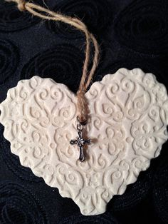 Handmade Rustic Salt Dough Heart with Cross Charm
