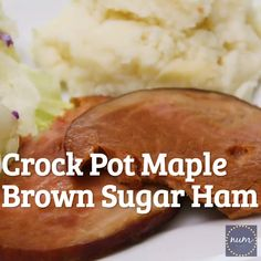 This easy crock pot brown sugar pineapple ham also includes pineapple and maple syrup to create an irresistible and juicy family meal maple brownsugar pineapple crockpot ham numstheword maindish holidays Easy Ham Recipes, Ham Steak Recipes, Slow Cooker Ham Recipes, Crockpot Recipes, Ham In Crockpot, Dinner Crockpot, Delicious Recipes, Dinner Recipes, Pineapple Glaze For Ham
