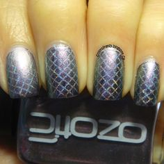 Nice! Ozotic 752 over black, stamped fishnet design with BM-315 and Color Club Harp.   Colors Frenzy