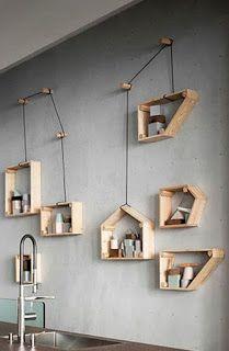 Box Shelves, Pallet Shelves, Wooden Shelves, Recycled Pallets, Wood Pallets, Pallet Wood, Diy Furniture, Furniture Design, Diy Casa