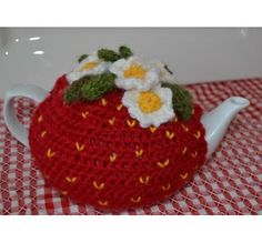 Strawberry Tea Cosy and Teapot Red Crocheted BY the LITTLE LOST BUTTON on Catch a Creation