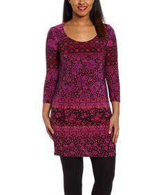 Loving this Purple Damask Scoop Neck Dress on #zulily! #zulilyfinds