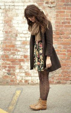 Big flowers, big scarf, coat, tights, boots.