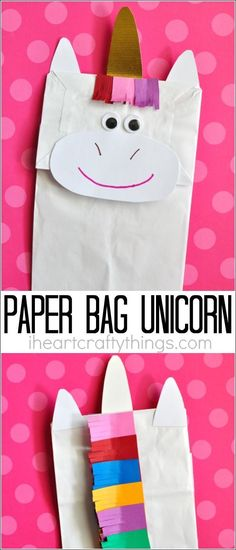 Bring imaginary magic home by making this simple, fun and colorful paper bag unicorn craft with your kids. Great preschool craft and fun kids craft. #artsandcraftsforkidswithpaper,