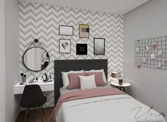 Pin by Sydney on New room ideas in 2019 Girl Bedroom Designs, Room Ideas Bedroom, Small Room Bedroom, Bedroom Decor, Small Rooms, Trendy Bedroom, Spa Bedroom, Small Spaces, Bedroom Themes