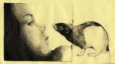 Girl and a Rat Art Print