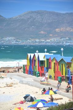 South Africa Travel Inspiration - Cape Town, South Africa. Look at the colour of the beach huts! Like a British beach scene only much warmer!