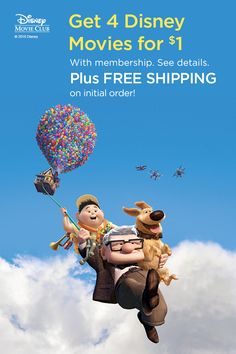 More movies with balloons, please. Add the Pixar adventure flick Up to your next Disney Movie Club list. Your first order ships free and you get 4 movies for $1 with membership! See details.