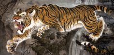 Top Ten Fantastic Experience Of This Years Chris Garver Paintings Tiger Tattoo Design, Tiger Design, Tribal Tattoo Designs, Geometric Tattoos, Japanese Tiger Tattoo, Japanese Dragon Tattoos, Long Painting, Tiger Painting, Chris Garver
