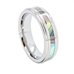 Blue Chip Unlimited - Unisex 6mm Abalone Shell Inlay Tungsten Carbide Wedding Band Engagement Ring Fashion Jewelry Gift (Available in Sizes 4-14) Blue Chip Unlimited, http://www.amazon.com/dp/B009ZYN5WC/ref=cm_sw_r_pi_dp_FsySqb0NZM1BA