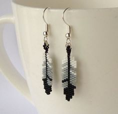 Beaded Feather Earrings ~ Dangle Earrings ~ Bead Jewellery Jewelry