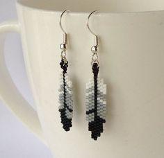 Beaded Feather Earrings ~ Dangle Earrings ~ Bead Jewellery Jewelry