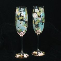 Hand Painted Hydrangea Crystal Toasting Flutes by THEGILDEDTOUCH, $85.00