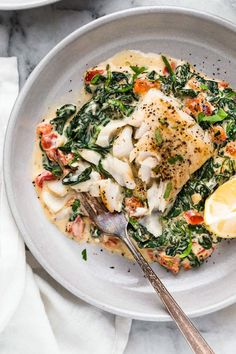 This easy Fish Florentine recipe, made with a pan seared firm white fish served on a creamy bed of spinach feels like something you would order out in a fancy restaurant! # Healthy Recipes fish Fish Florentine – The BEST Fish Recipe! Best Fish Recipes, Ww Recipes, Cooking Recipes, Healthy Recipes, Skinnytaste Recipes, Healthy White Fish Recipes, Fancy Recipes, Recipes With White Fish, Simple Fish Recipes