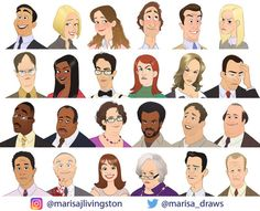 Marisa Livingston, a Los Angeles artist, transformed Michael Scott and the characters of 'The Office' into cartoon characters. Parks N Rec, Parks And Recreation, Office Cartoon, The Office Characters, Office Jokes, Funny Office, Office Fan, Creed The Office, The Office Show