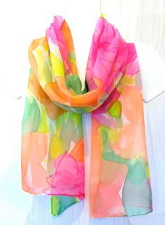 Hand Painted Luxury sized silk scarf Spring by SilkCouturebyTakuyo, $68.50