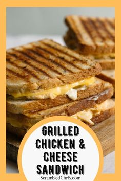 Serve this creamy grilled chicken and cheese sandwich as an easy update on a classic grilled cheese.  Loaded with creamy sauce and tons of cheese! #GrilledChickenSandwich #GrilledCheeseSandwich #GrilledCheese #Sandwich Garlic Cheese Bread, Cheddar Cheese, Sprouted Grain Bread, Easy Sandwich Recipes, Potato Bread, Grilled Sandwich, Chips And Salsa, Slice Of Bread, Creamy Sauce